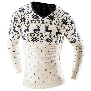 Hot Sale V-Neck Christmas Snowflake Fawn Intarsia Color Block Slimming Men's Long Sleeves Sweater - Off-white - 2xl