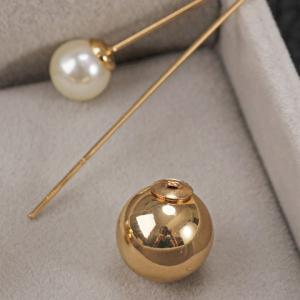 Pair of Alloy Faux Pearl Ball Shape Earrings -