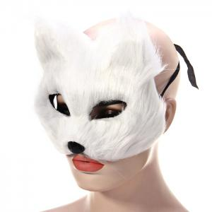 Fox Design Half Mask for Christmas Decoration Halloween Masquerades Theme Party - White