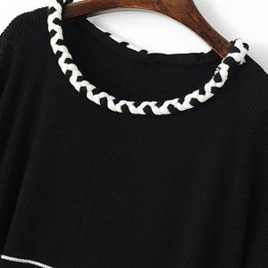 Stylish Jewel Half Sleeve Braid Embellished Fringed Sweater For Women -