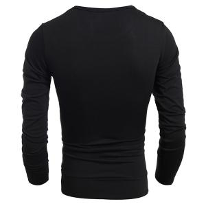 Multicolor Panel Round Neck Long Sleeves T-Shirt - BLACK M