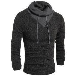 Personality Drawstring Turtleneck Color Block Spliced Long Sleeves Men's Slimming Thicken Sweater - Deep Gray - M