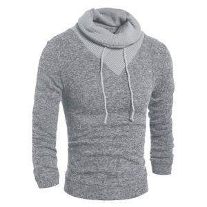 Personality Drawstring Turtleneck Color Block Spliced Long Sleeves Men's Slimming Thicken Sweater - Light Gray - 2xl