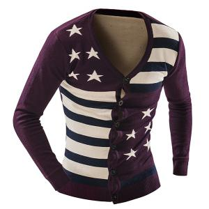 Vogue Slimming V-Neck American Flag Jacquard Color Block Men's Long Sleeves Thicken Cardigan - PURPLISH RED L