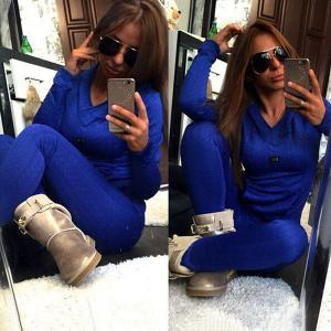 Stylish Hooded Long Sleeve Sweatshirt + Solid Color Slimming Pants Women's Twinset