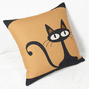 Charming Black Kitten Printed Square Composite Cotton Linen Blend Pillow Case -