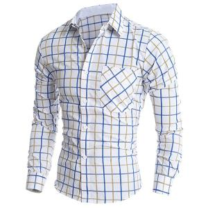 Classic Color Block Exquisite Patch Pocket Shirt Collar Long Sleeves Men's Slimming Plaid Shirt -