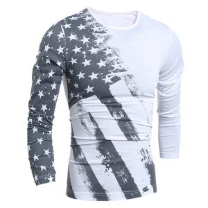 Personality Star Stripes Irregular Print Color Block Slimming Round Neck Long Sleeves Men's T-Shirt