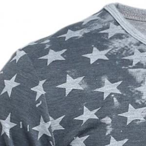 Personality Star Stripes Irregular Print Color Block Slimming Round Neck Long Sleeves Men's T-Shirt - WHITE XL