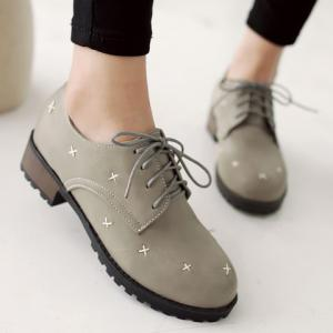Trendy Cross Pattern and Lace-Up Design Women's Flat Shoes -