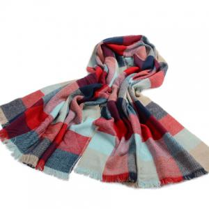 Chic Multicolor Plaid Pattern Fringed Edge Scarf For Women -