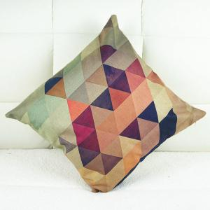 Simple Colorful Geometric Printed Square Composite Linen Blend Pillow Case -
