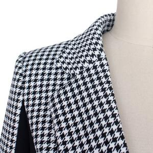 OL Style Lapel Long Sleeve Houndstooth Spliced Slimming Blazer For Women -