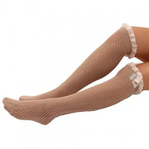 Pair of Chic Lace and Button Embellished Hollow Out Stockings For Women -
