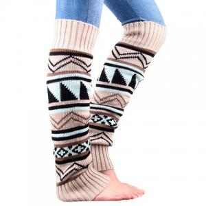 Pair of Chic Tribal Geometric Pattern Knitted Leg Warmers For Women - OFF-WHITE