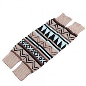 Pair of Chic Tribal Geometric Pattern Knitted Leg Warmers For Women - OFF WHITE