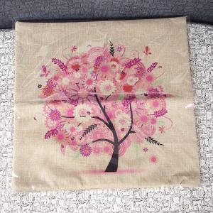 Cute Colorful Tree Printed Square Composite Linen Blend Pillow Case -