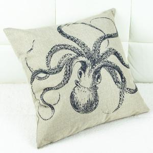 Cute Octopus Printed Square Composite Linen Blend Pillow Case -