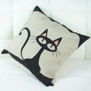 Lovely Cartoon Kitten Printed Square Composite Linen Blend Pillow Case -