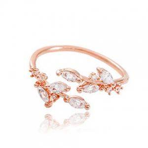 Chic Rhinestone Tree Leaf Cuff Ring For Women - Rose Gold - One-size