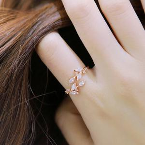 Chic Rhinestone Tree Leaf Cuff Ring For Women - ROSE GOLD ONE-SIZE