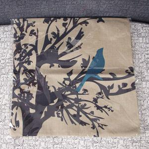 Cute Cartoon Bird Printed Square Composite Linen Blend Pillow Case -