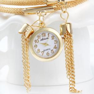 Ailisha Multilayer Quartz Chain Watch with Pendants Bowknot for Women -