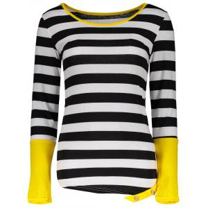 Stylish Scoop Neck Long Sleeve Color Block Striped Women's T-Shirt - Black - Xl