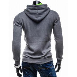 Vogue Drawstring Hooded Letters Logo Print Front Pocket Hit Color Long Sleeves Men's Slimming Hoodie - LIGHT GRAY M
