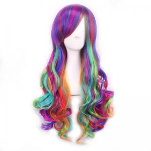 Harajuku Long Side Bang Fashion Colorful Ombre Shaggy Wavy Synthetic Cosplay Wig For Women - OMBRE