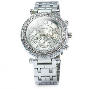 Geneva Female Quartz Watch with Diamond Bezel Stainless Steel Strap - SILVER