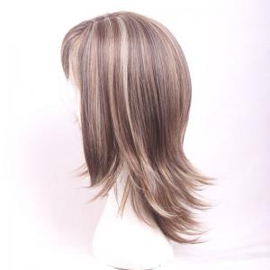Shaggy Medium Brown Mixed Blonde Capless Elegant Side Bang Straight Synthetic Wig For Women -
