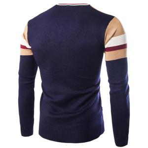 Slimming V-Neck Hit Color Stripes Wave Twist Flowers Long Sleeves Men's Cashmere Blend Sweater -