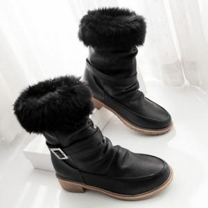 Simple Ruched and Faux Fur Design Women's Short Boots -