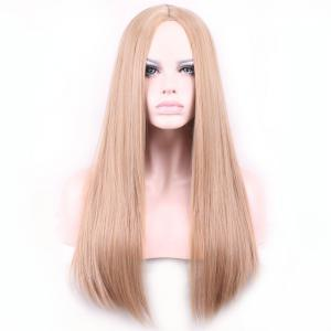 Charming Centre Parting Long Synthetic Silky Straight Capless Light Brown Wig For Women