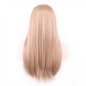 Charming Centre Parting Long Synthetic Silky Straight Capless Light Brown Wig For Women - LIGHT BROWN