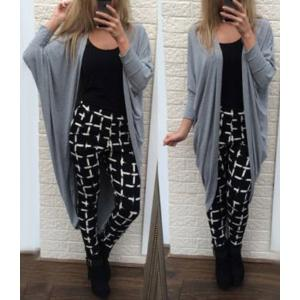 Stylish Collarless Long Sleeve Solid Color Loose-Fitting Women's Long Cardigan