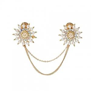 Flower Faux Pearl Rhinestone Sweater Guard Brooch -