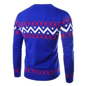 Slimming Round Neck Wavy Stripes Rhombus Jacquard Long Sleeves Men's Cashmere Blend Cardigan -