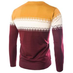 Color Block Spliced Rhombus Jacquard Slimming Round Neck Long Sleeves Men's Cashmere Blend Sweater -