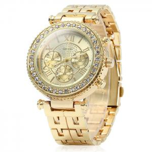 Geneva Female Quartz Watch with Diamond Bezel Stainless Steel Strap - Golden