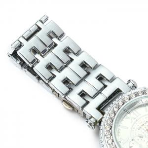 Geneva Female Quartz Watch with Diamond Bezel Stainless Steel Strap -