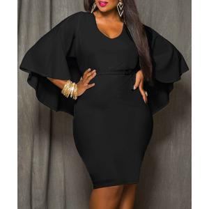 Plus Size V-Neck Modest Work Bodycon Caped Dress - Black - 2xl