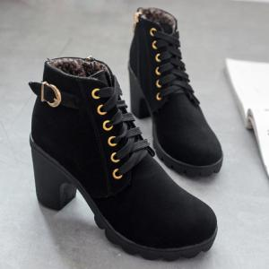 Simple Style Metallic Buckle and Lace Up Design Women's High Heel Boots -