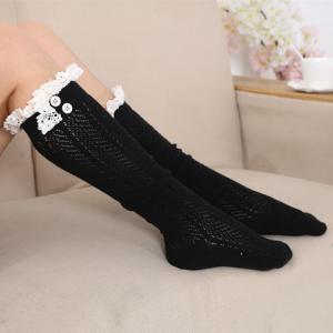 Pair of Chic Tassel Pendant and Lace Edge Embellished Knitted Stockings For Women - RANDOM COLOR