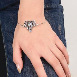 Vintage Hollow Out Totem Elephant Bracelet - SILVER