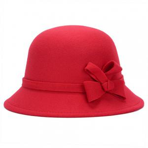 Chic Solid Color Lace-Up and Bowknot Bowler Hat For Women - COLOR ASSORTED