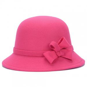 Chic Solid Color Lace-Up and Bowknot Bowler Hat For Women -