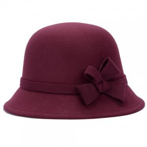 Chic Solid Color Lace-Up and Bowknot Bowler Hat For Women