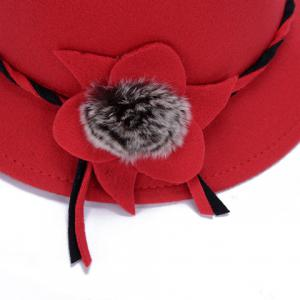 Elegant Solid Color Big Flower and Downy Ball Lace-Up Women's Felt Hat -